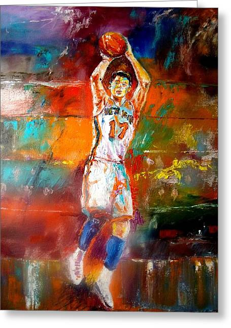 Knicks Greeting Cards - Jeremy Lin New York Knicks Greeting Card by Leland Castro