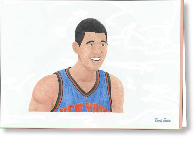 Knicks Drawings Greeting Cards - Jeremy Lin Greeting Card by Toni Jaso