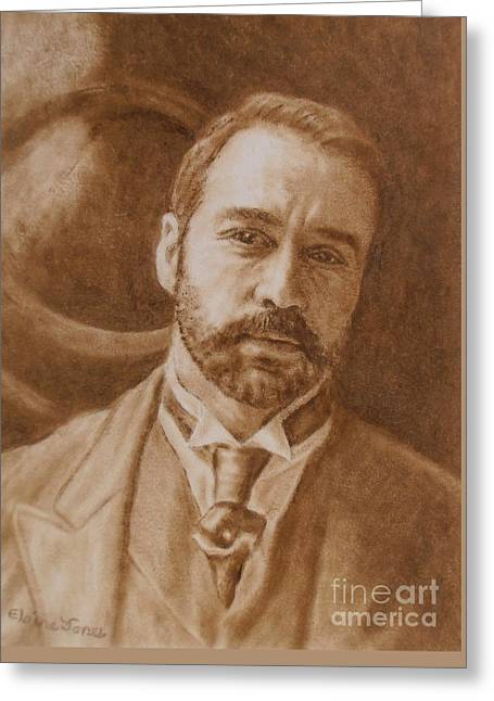 Jeremy Piven As Mr Selfridge Greeting Card by Elaine Jones