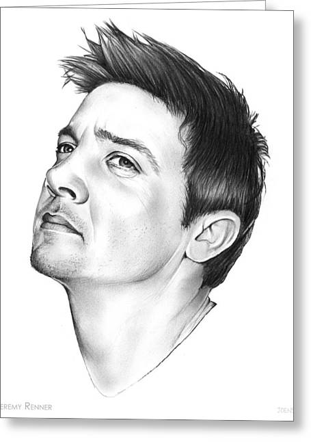 Jeremy Renner Greeting Card by Greg Joens