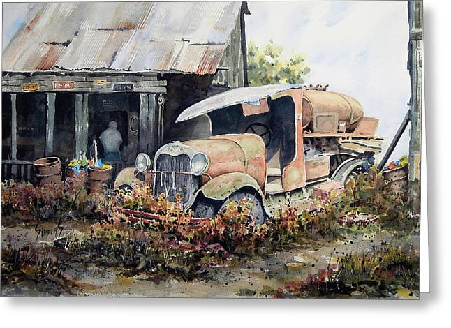 Antique Truck Greeting Cards - Jeromes Tank Truck Greeting Card by Sam Sidders
