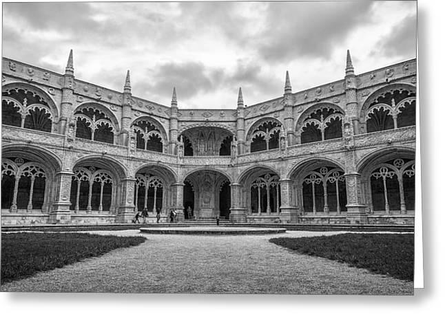Greeting Cards - Jeronimos Monastery Cloister Lisbon Greeting Card by Joan Carroll