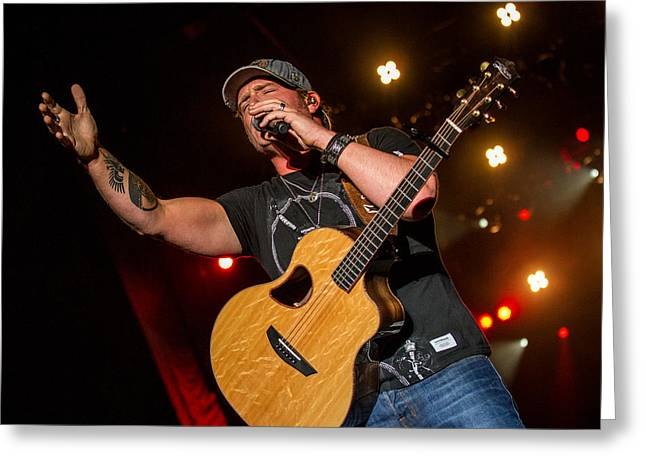 Live Music Greeting Cards - Jerrod Niemann Guitar 3 Greeting Card by Mike Burgquist