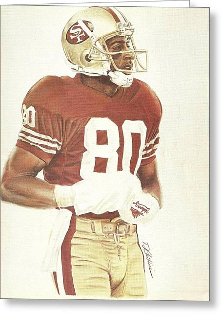 49ers Drawings Greeting Cards - Jerry Greeting Card by Darren  Chilton