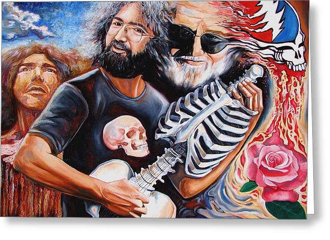 Grateful Dead Greeting Cards - Jerry Garcia and the Grateful Dead Greeting Card by Darwin Leon