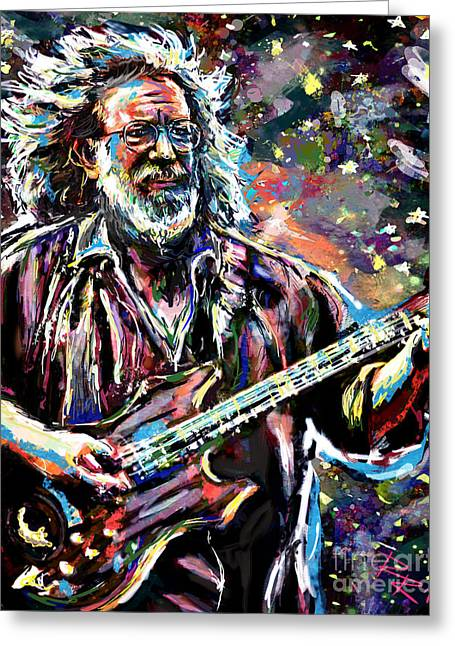 Jerry Garcia Band Greeting Cards - Jerry Garcia Art Grateful Dead Greeting Card by Ryan RockChromatic