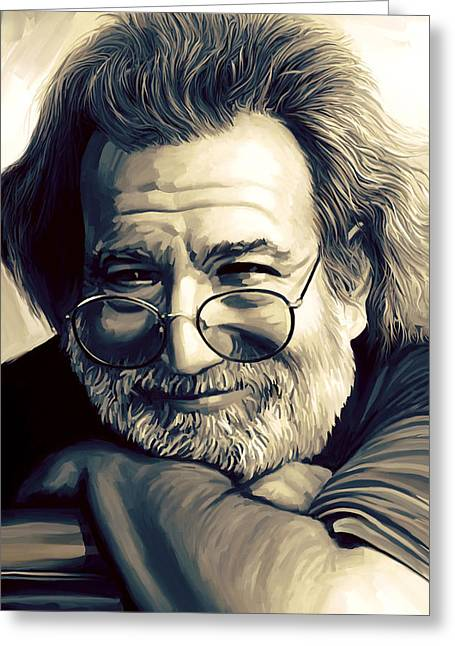Singer Songwriter Greeting Cards - Jerry Garcia Artwork  Greeting Card by Sheraz A