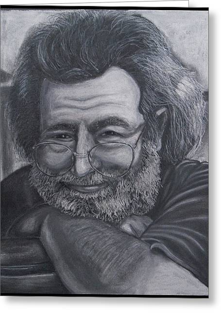 Rolling Stones Pastels Greeting Cards - Jerry Garcia Greeting Card by Dennis Jones