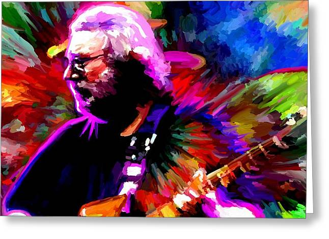 Leon Jimenez Greeting Cards - Jerry Garcia Grateful Dead Signed Prints available at laartwork.com Coupon Code KODAK Greeting Card by Leon Jimenez