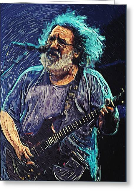 Living In San Francisco Greeting Cards - Jerry Garcia Greeting Card by Taylan Soyturk