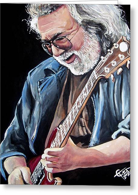Carlton Greeting Cards - Jerry Garcia - The Grateful Dead Greeting Card by Tom Carlton