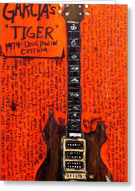 The Tiger Greeting Cards - Jerry Garcia Tiger Greeting Card by Karl Haglund