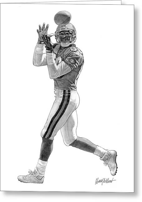 Photo-realism Greeting Cards - Jerry Rice Greeting Card by Harry West