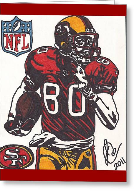 49ers Drawings Greeting Cards - Jerry Rice Greeting Card by Jeremiah Colley