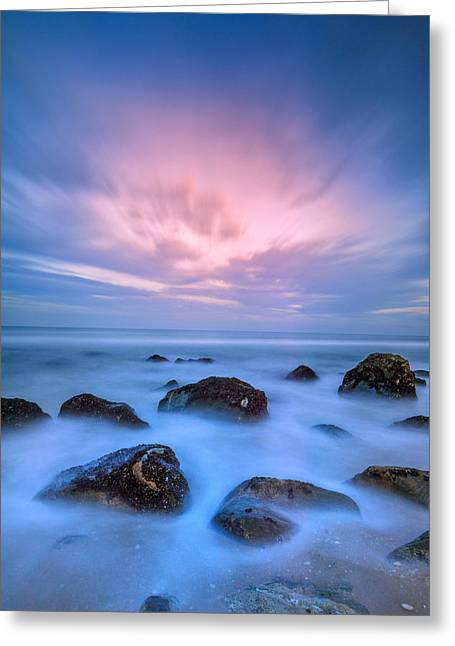 Beach Sunsets Greeting Cards - Jersey Afterglow Greeting Card by Rick Berk