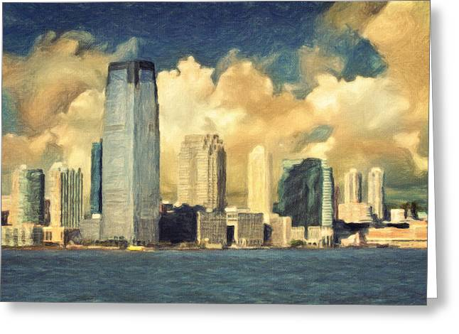 Middle Town Pennsylvania Greeting Cards - Jersey City Skyline Greeting Card by Taylan Soyturk