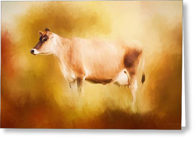 Jersey Cow In Field Greeting Card by Michelle Wrighton