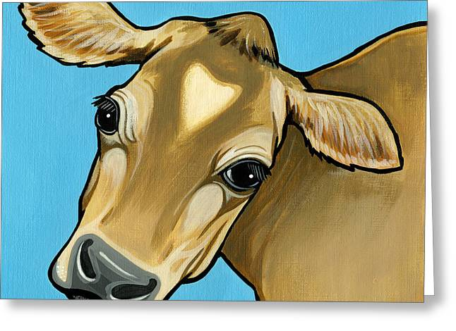 Jersey Cow Greeting Cards - Jersey Greeting Card by Leanne Wilkes