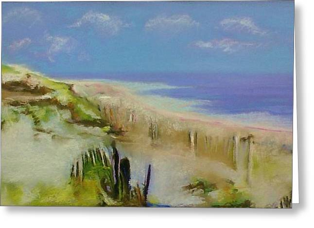Sand Fences Pastels Greeting Cards - Jersey Shore Greeting Card by Bob Naramore