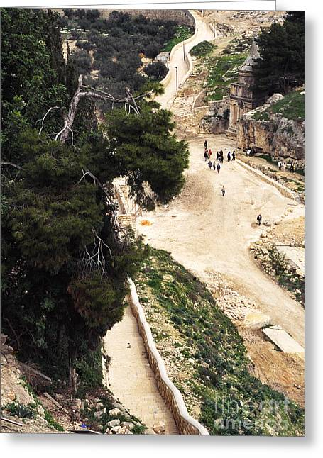 Mount Olives Greeting Cards - Jerusalem Absaloms Pillar Greeting Card by Thomas R Fletcher