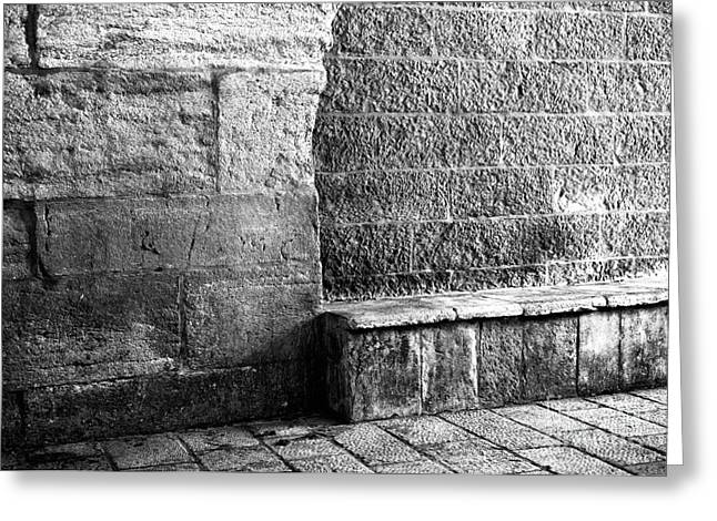 Stone Bench Greeting Cards - Jerusalem Bench Greeting Card by John Rizzuto
