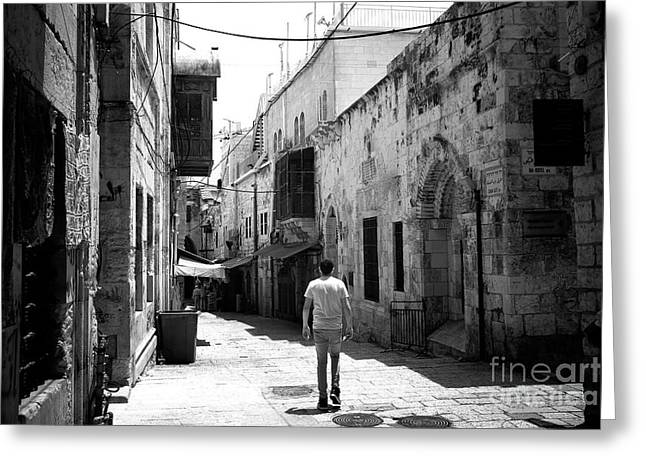 Old Street Greeting Cards - Jerusalem Freeze Frame Greeting Card by John Rizzuto