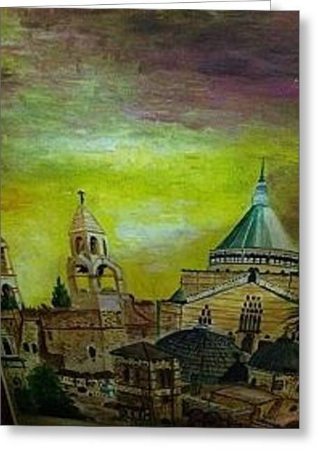 Religious Paintings Greeting Cards - Jerusalem Greeting Card by Joyce Boukhors