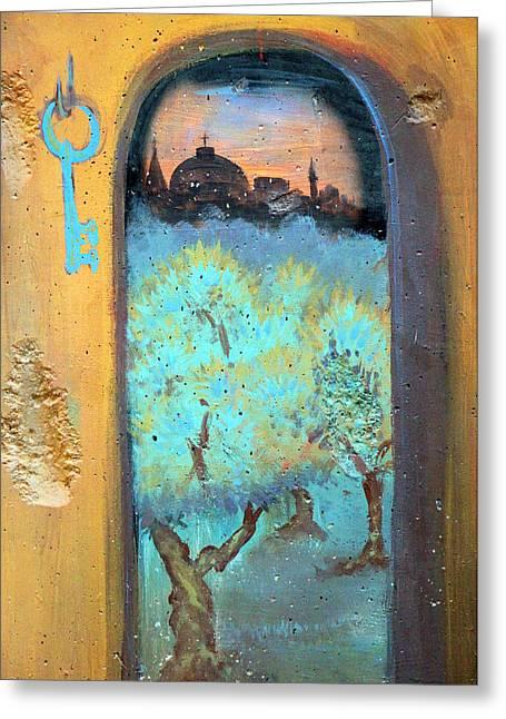 Holy Land Art Greeting Cards - Jerusalem Key Greeting Card by Munir Alawi