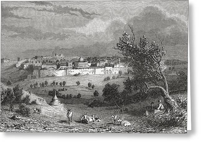 Mount Olives Greeting Cards - Jerusalem, Palestine Seen From The Greeting Card by Vintage Design Pics