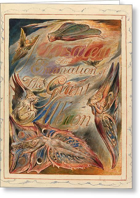William Blake Drawings Greeting Cards - Jerusalem. Plate 2. Title Page Greeting Card by William Blake