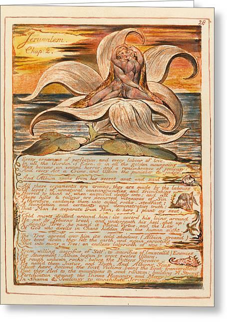 William Blake Drawings Greeting Cards - Jerusalem. Plate 28 Greeting Card by William Blake