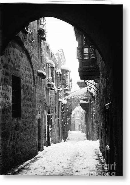 Via Dolorosa Greeting Cards - Jerusalem: Winter Greeting Card by Granger