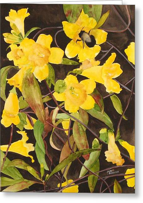 Jean Blackmer Greeting Cards - Jessamine Jungle Greeting Card by Jean Blackmer