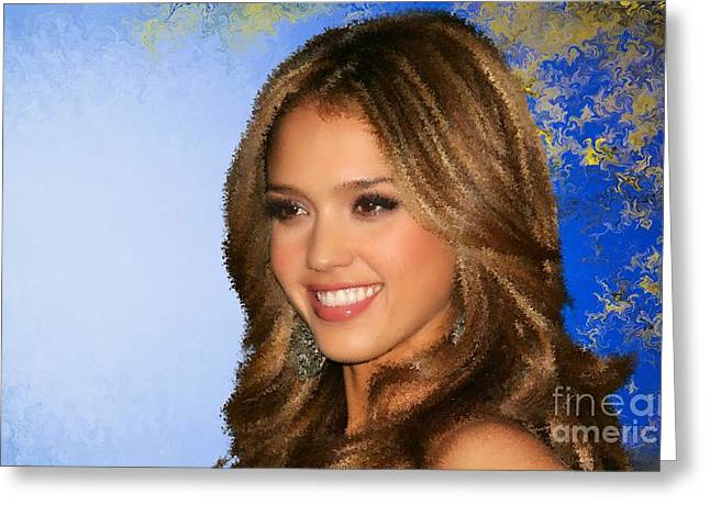 Jessica Alba Paintings Greeting Cards - Jessica Alba  Greeting Card by Alexander Del Rey
