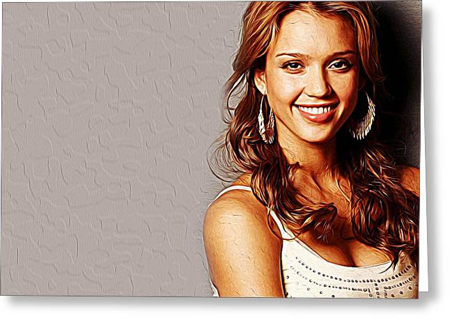Jessica Alba Greeting Cards - Jessica Alba Greeting Card by Queso Espinosa