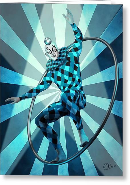 Jester Mixed Media Greeting Cards - Jester Blue By Quim Abella Greeting Card by Joaquin Abella
