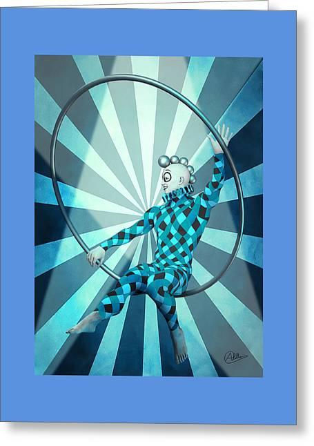Jester Boy Blue Greeting Card by Quim Abella