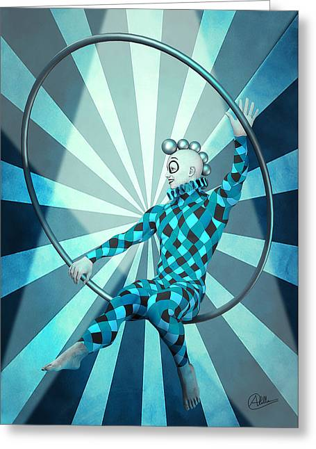 Jester Mixed Media Greeting Cards - Jester Boy Blue By Quim Abella Greeting Card by Joaquin Abella