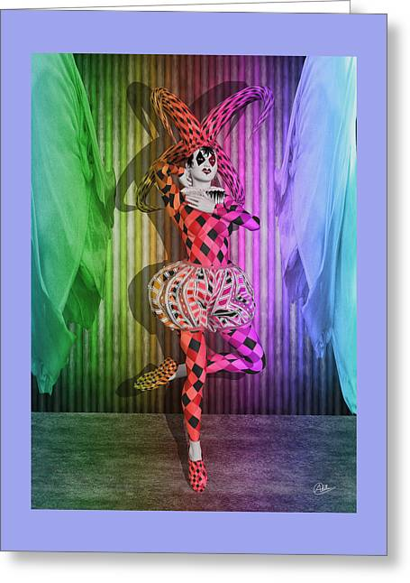Jester Mixed Media Greeting Cards - Jester Girl By Quim Abella Greeting Card by Joaquin Abella