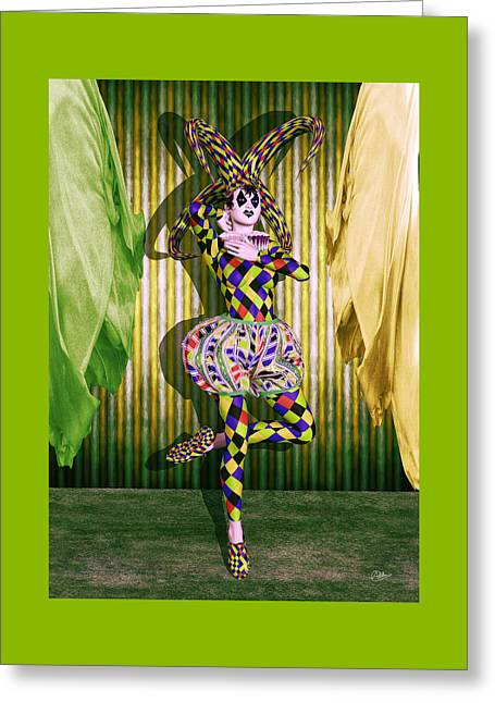 Jester Mixed Media Greeting Cards - Jester Girl Circus By Quim Abella Greeting Card by Joaquin Abella