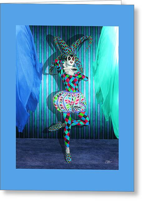 Jester Mixed Media Greeting Cards - Jester Girl Clown By Quim Abella Greeting Card by Joaquin Abella