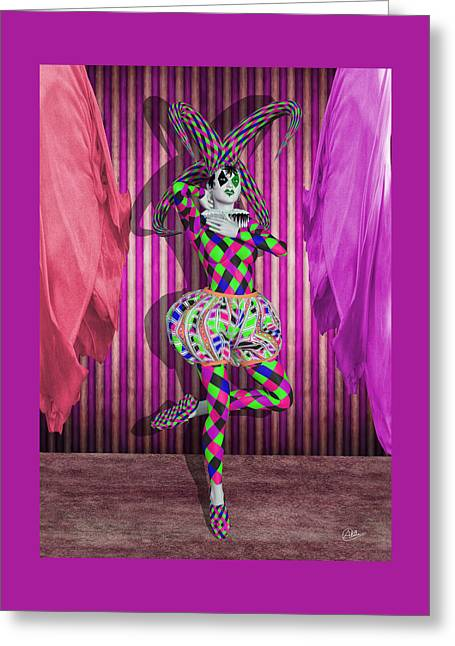 Jester Mixed Media Greeting Cards - Jester Girl Purple By Quim Abella Greeting Card by Joaquin Abella