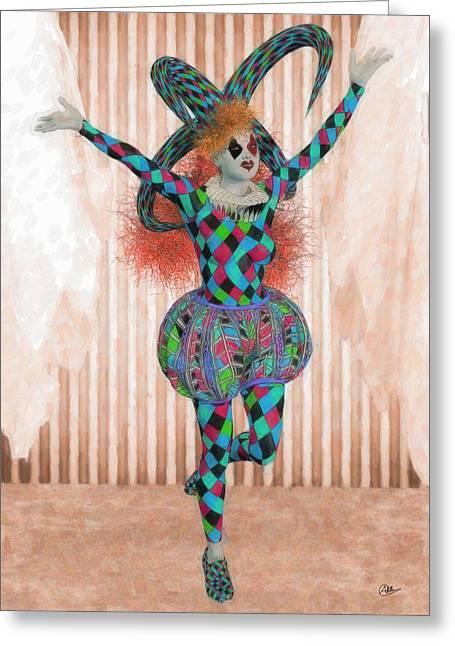 Jester Orange Greeting Card by Joaquin Abella