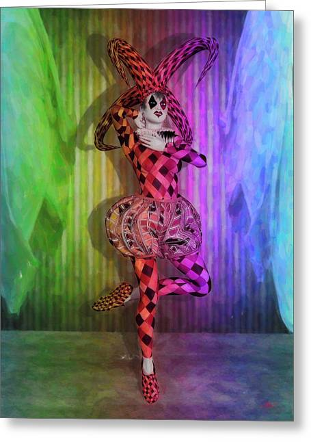 Jester Rainbow Girl  Greeting Card by Quim Abella