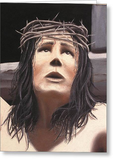 Jesus Pastels Greeting Cards - Jesus 2000 close-up Greeting Card by Barros