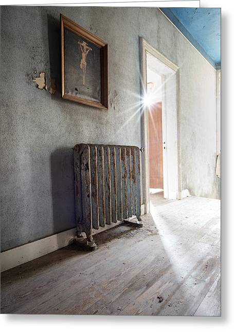 Abandoned Places Greeting Cards - Jesus above the heater - abandoned building Greeting Card by Dirk Ercken