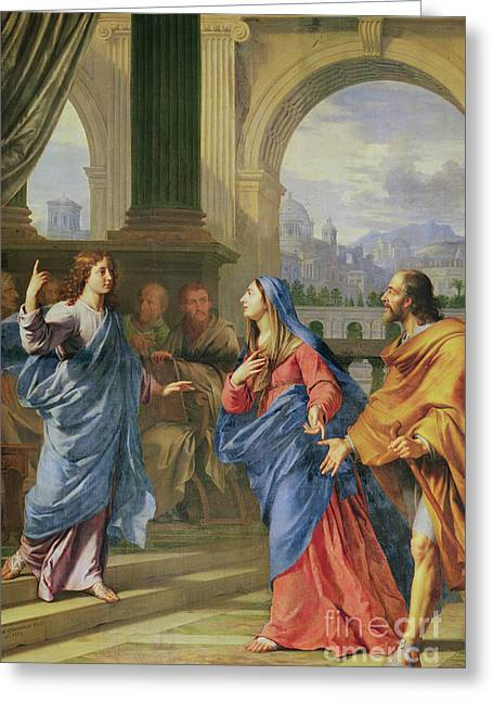 Jesus Among The Doctors Greeting Card by Philippe de Champaigne