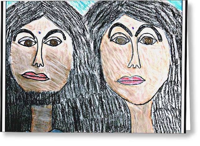 Jesus Pastels Greeting Cards - Jesus and his mom Greeting Card by Karyn Bonti