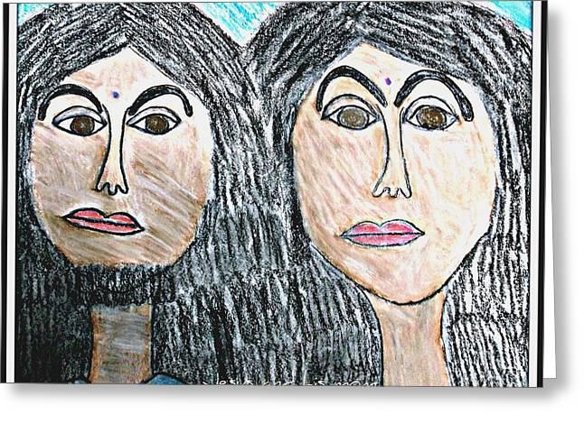 Jesus Pastels Greeting Cards - Jesus and his mom Greeting Card by Karyn Bonti
