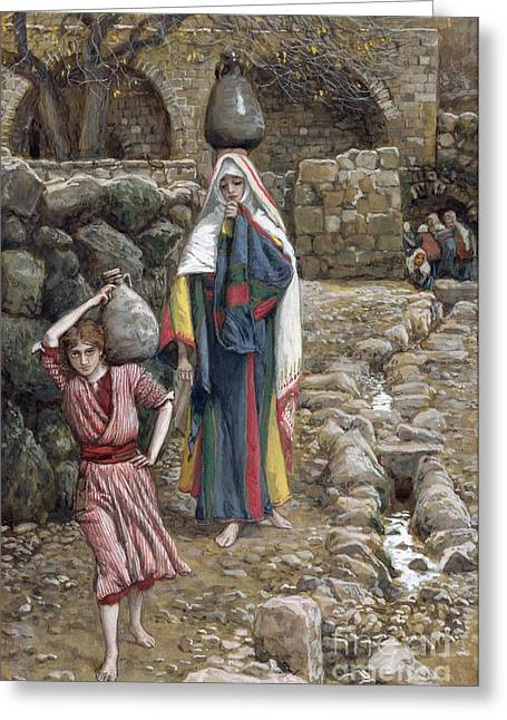 Christ Child Greeting Cards - Jesus and His Mother at the Fountain Greeting Card by Tissot